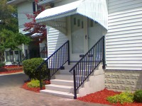 2)  6 rise ( 42″ tall )  6′ wide, with a 15″ deep top tread, & Superior Series 900 Aluminum Railings.