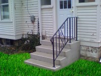 "2) 4 rise (28"" tall) 4' wide, with 24"" deep platform & 1 standard 30"" tall Iron Railing."